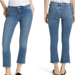 Free People Jeans mid/hi rise cropped with raw hem